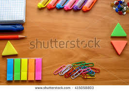 colorful office accessories. Business Accessories And Colorful Office Supplies (notebooks, Pens, Markers, Crayons, Paints S