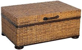 wicker coffee table with storage rattan cocktail outdoor ottoman
