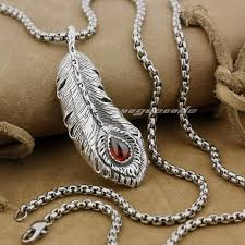whole linsion huge 925 sterling silver feather red cz mens biker pendant 9j003 stainless steel necklace 24 inches turquoise jewelry whole jewelry