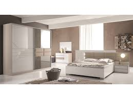 Schlichter Schlafzimmer Set Terracina Hochglanz Weiß Beige