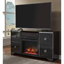 Ashley Furniture Amrothi LG TV Stand with Fireplace Audio in Black