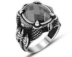 Silver Stone Ring Designs Axe Design Zircon Stone 925 Sterling Silver Mens Ring