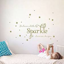 Amazon She Leaves A Little Sparkle Girls Room Vinyl Wall Decal Awesome Sparkle Quotes
