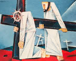 simon helps carry his cross ang kiukok 1996 oil on canvas 91 114 cm