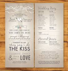 Wedding Program Long Skinny Wedding Programs With Nontradition Ceremony 10