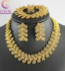 Engagement Gold Necklace Designs New Arrival Luxury Thailand Gold Color Clear Crystal Earring