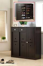 Decorating black shoe cabinet with doors pictures : Black Color Shoe Rack Storage With Sliding Door For Small Wardrobe ...