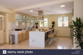 Marble Floor Kitchen Marble Floor In Modern Kitchen With Illuminated Wall Cupboards And