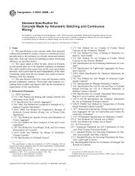 Astm Standards For Concrete Mix Design Astm C685 C685m Volumetric Batching And Continuous Mixing