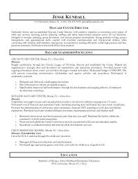 Resume Example Day Care Center Director Cover Letter Resume Cover