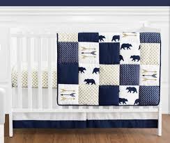 sweet jojo navy gold dot woodland bear baby boy bedding crib set without per