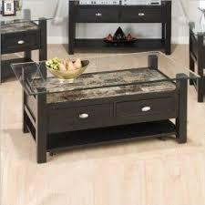 Jofran Marble Techmetric Glass Top Coffee Table In Basic Black