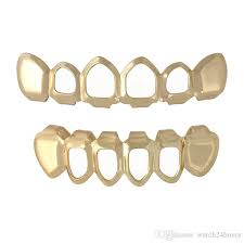 2019 hip hop 6 teeth grillz hollow top bottom fangs bottom grillz set vire grills sets gold bling hollow blooder tooth caps from