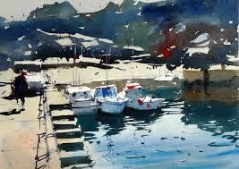 watercolour demonstration how to paint boats in a harbour scene 10 you