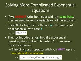6 solving more complicated exponential equations if we cannot write both sides with the same base