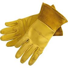 above the rugged women s gauntlet gardening gloves have a puncture proof but pliable goatskin with padded palms and a nearly 3 inch gauntlet to
