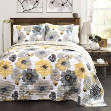Image White Comforter Amazoncom Lush Decor Leah Quilt Floral Yellow And Gray Piece Reversible King Yellow Gray Home Kitchen Amazoncom Amazoncom Lush Decor Leah Quilt Floral Yellow And Gray Piece