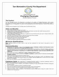 Paramedic Resume Cover Letter Firefighter Resume Template Lovely Paramedic Resume Templates Best 12