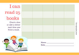 Book Reading Chart Read 25 Books Kids Reading Chart Fillable Acn Latitudes