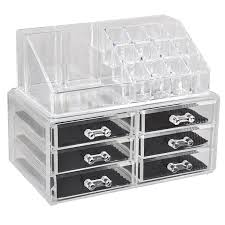chinkyboo Cosmetic Organizer Clear Acrylic Makeup Drawers Case Box Jewelry  Storage Display (6 drawers): Amazon.co.uk: Beauty