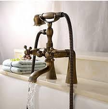 flg deck mount bathtub faucet antique dual handle mixer tap with hand shower