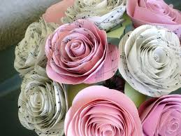 Cardstock Paper Flower One Dozen Hymnal Sheet Music And Pink Cardstock Cabbage Rose Spiral
