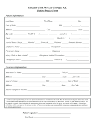Medical Physical Form Template Patient Intake Form Template