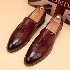 details about mens handmade formal shoes real leather wingtip burdy dress shoes