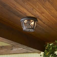 hampton bay 2 light indoor outdoor oil rubbed bronze flushmount