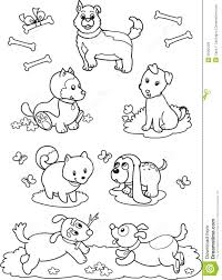 Cute Cartoon Dogs Coloring Page Stock Vector Illustration Of