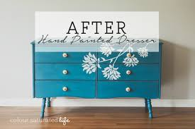 hand painted furnitureFurniture Makeover Hand Painted Dresser  Colour Saturated Life