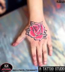Red And Black Rose Tattoo On Right Hand For Women Done Flickr