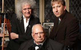 white lion band 2012. Fine White May Alongside Sir Patrick Moore And Astrophysicist Chris Linstott In 2012 With White Lion Band L