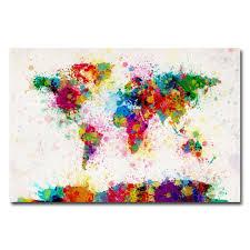 modern canvas art. Paint Splashes World Map Canvas Art Modern R
