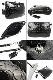 Coach COACH ☆ bag (pouch) F49562 black embossed signature liquid gloss  hearts  amp  Ribbon medium wristlet outlet products cheap! Women s  sale-SALE store