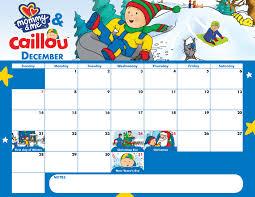 caillou december calendar
