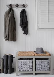 Hallway Furniture Coat Rack Hall Furniture Grey Storage Bench And Regency Coat Hooks HALL 49