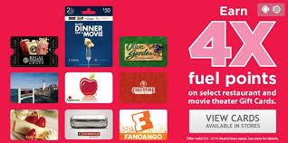 kroger earn 4x fuel points on select gift cards through today my dfw mommy
