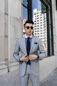 Light Grey Pinstripe Suit Combinations Light Gray Suit Gingham Dress Shirt Polka Dot Tie