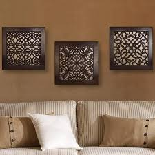 Wall Art Sets For Living Room Brown Square Wall Art Set Of 3