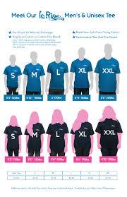 Mens Unisex Size Chart Lerage Shirts