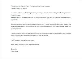 Thank You Letter For Telephone Interview Printable Thank You Letter After Phone Interview Example