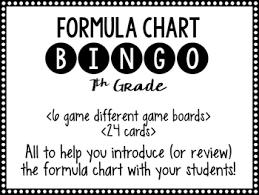 Formula Chart Bingo 7th Grade