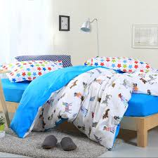 brilliant azure blue and white girls and boys cartoon animal dog print animal print bedding sets queen decor