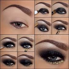 black smokey eye gold glitter insram vegas nay