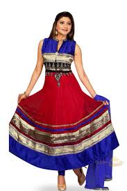 Fully Stitched Designer Churidar Salwar Suit In Red And