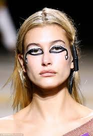 eye carumba the 20 year old model sported very heavy and unusual eye makeup for the show