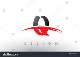 Q Brush Logo Letters Design with Red and Black Colors and Brush Letter  Concept.