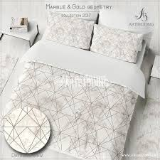 twin xl size marble and copper geometry duvet cover set beige marble texture with copper