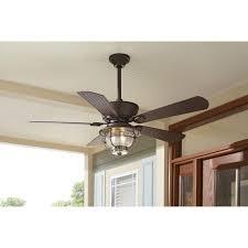 harbor breeze merrimack antique bronze outdoor downrod hunter ceiling fans with lights and remote control flush
